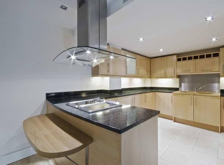 Light wood cabinets u-shaped kitchen