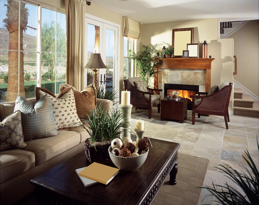 Living room at luxury house with fireplace seating
