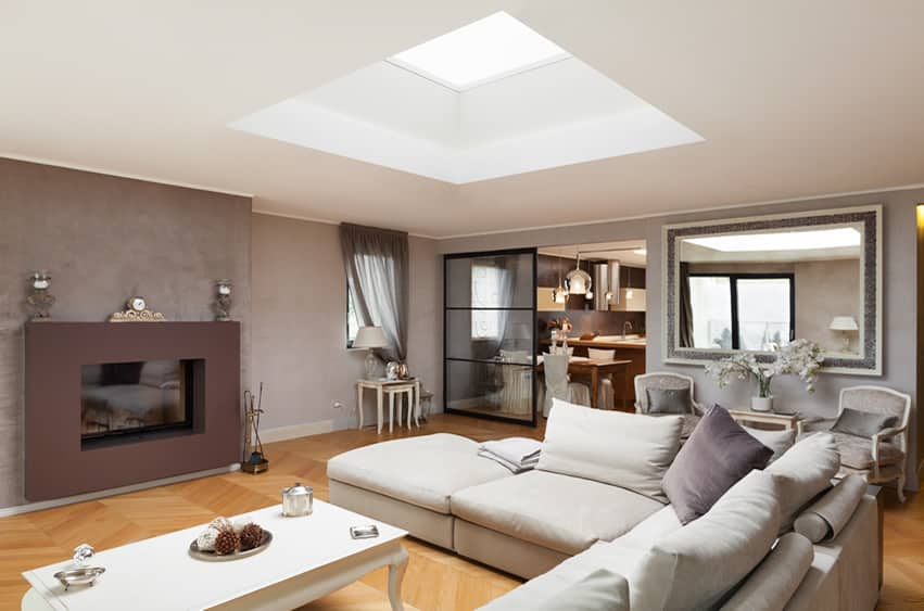 Living room with skylight and modern fireplace