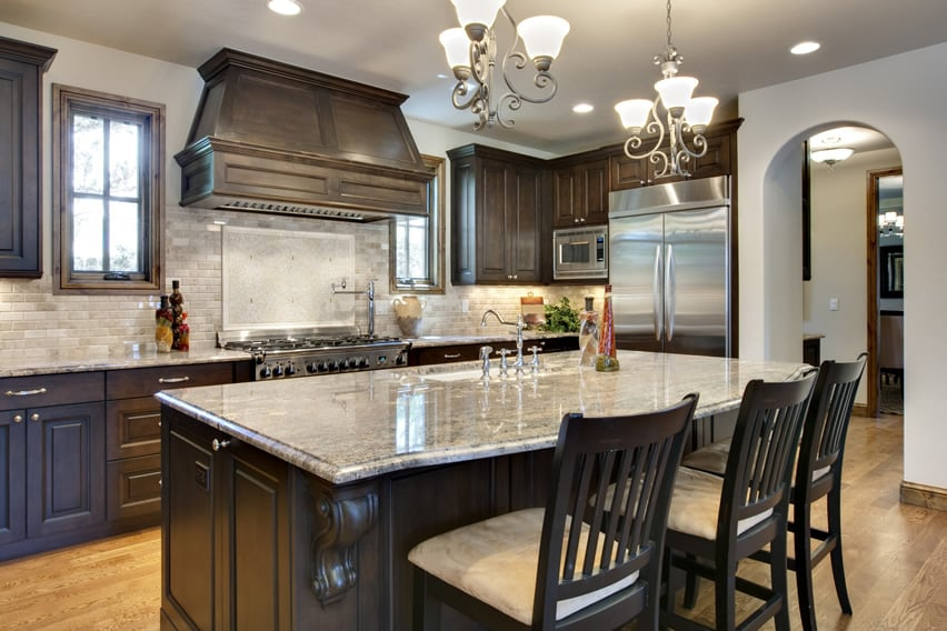 Long kitchen design for luxury home