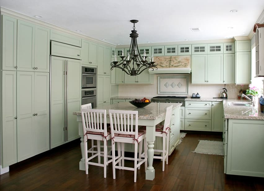 Mint u-shaped kitchen with eat-in island