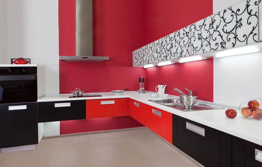 Modern glamour kitchen with black, red and white style