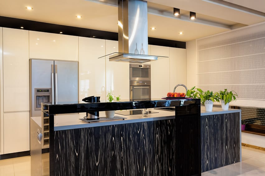 Modern kitchen island with streaked design