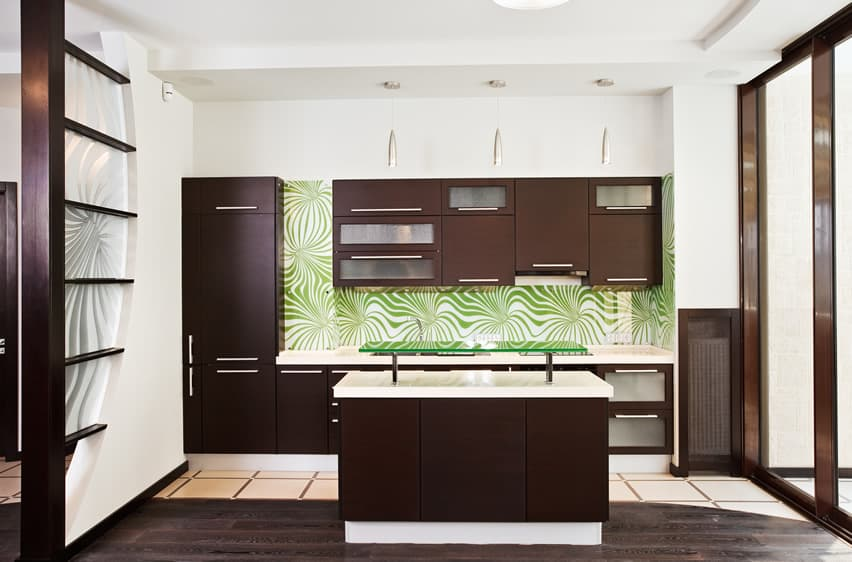 New modern kitchen with brown and white theme and green back splash