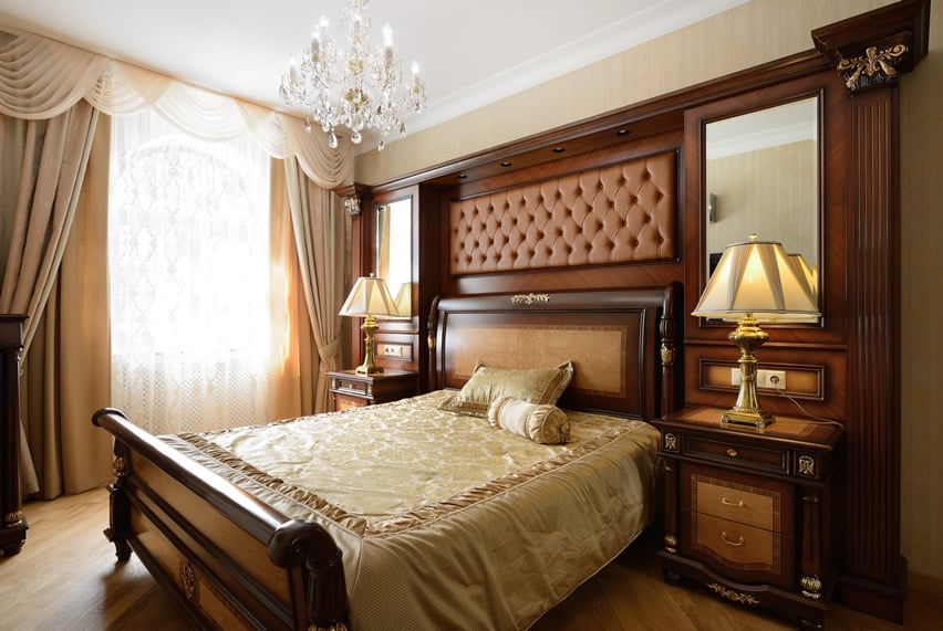 Refined bedroom with upholstered headboard