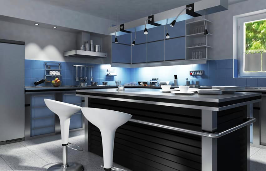 Refined modern kitchen with blue and black theme