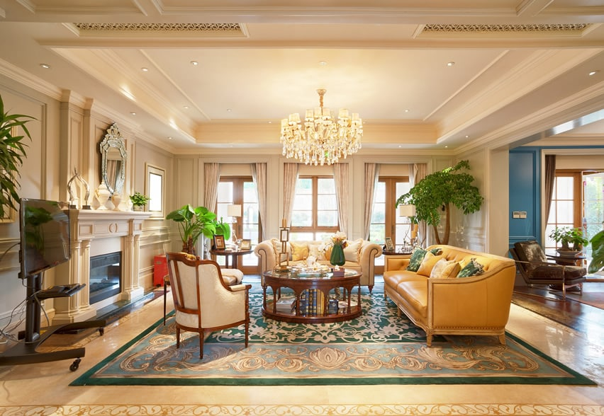 Regal decor living room with luxury furniture and glass chandelier