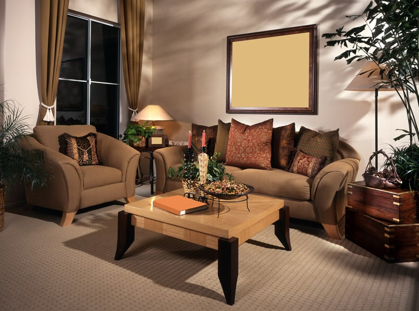 Richly decorated living room with a brown theme
