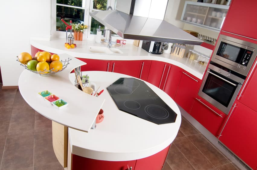 Small curved corner modern kitchen in red