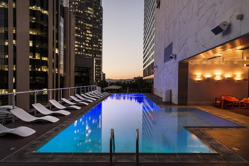 Stylish hotel pool in city high rise
