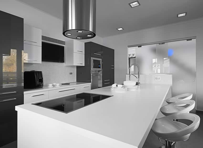 Stylish modern kitchen with black and white design