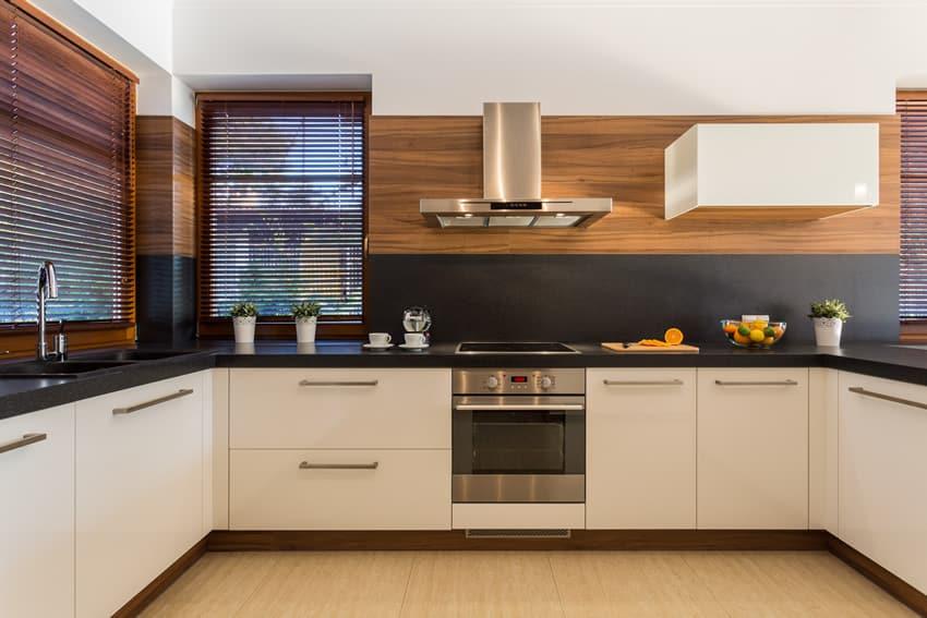Stylish u-shaped kitchen white cabinets black counter