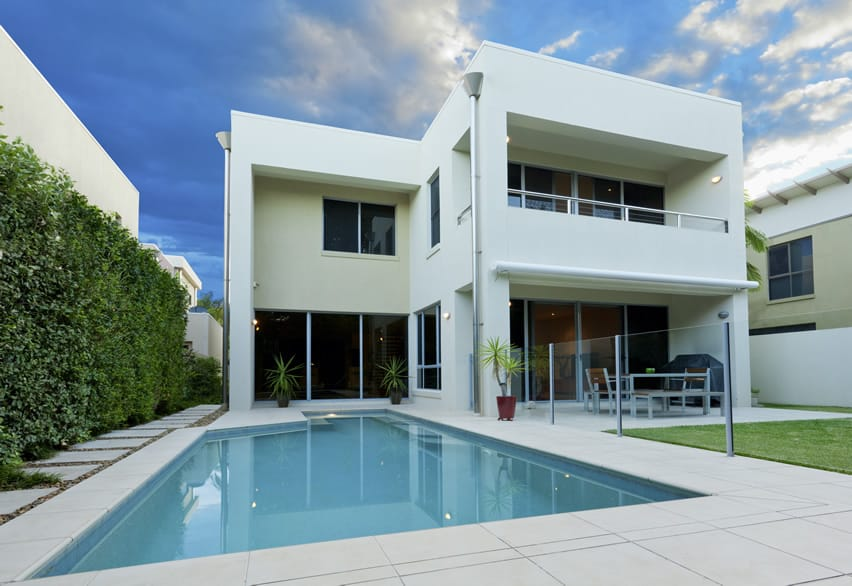 Swimming pool at modern two story home
