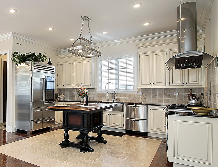 U-shaped kitchen in white with stainless appliances