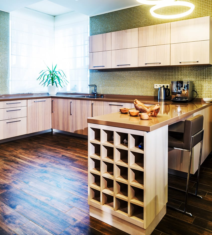 U-shaped kitchen with built in wine rack