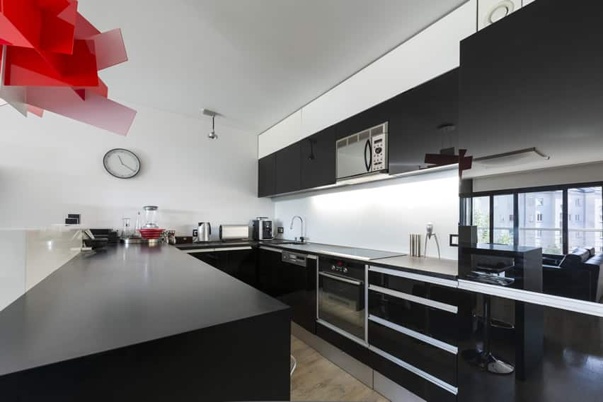 Ultra modern black u-shaped kitchen with red art fixture