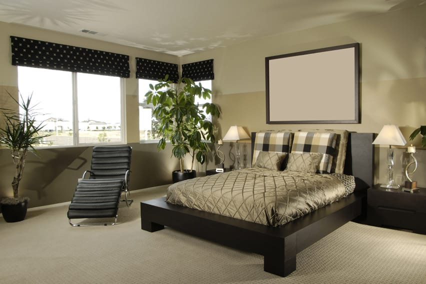 Upscale bedroom with platform bed