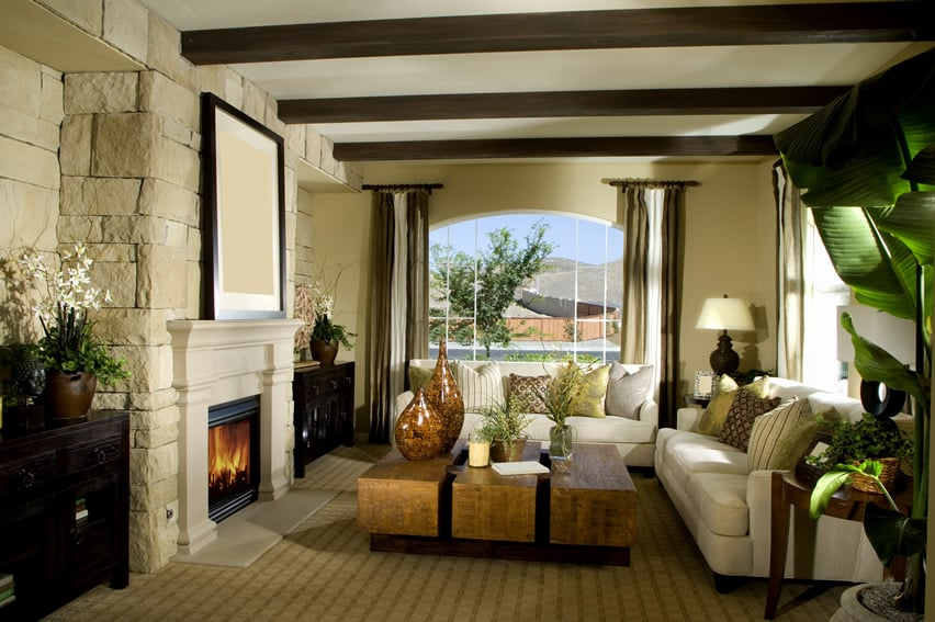 Warm living room with exposed beams