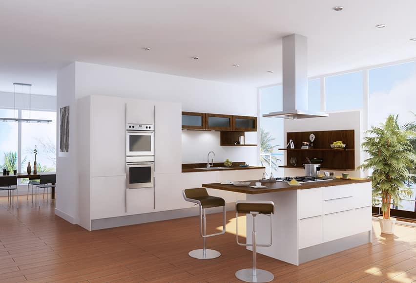 White modern kitchen with eat in dining island