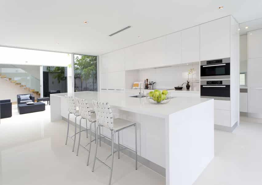 White modern kitchen with floor to ceiling cabinetry