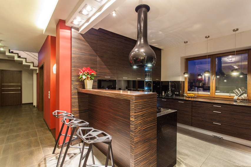 Zebrawood kitchen design with modern finishes