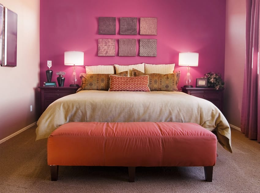 Cute pink themed bedroom design