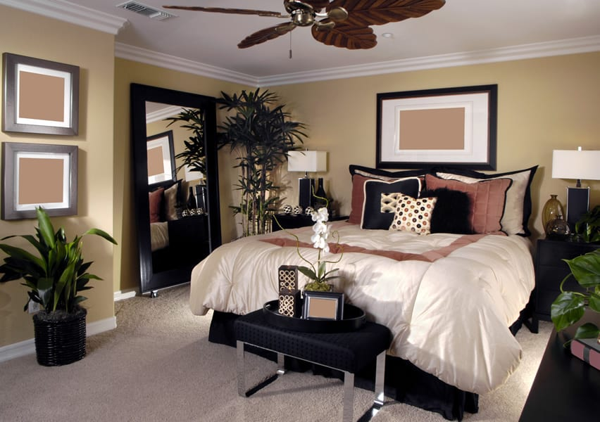 Designer bedroom with white comforter