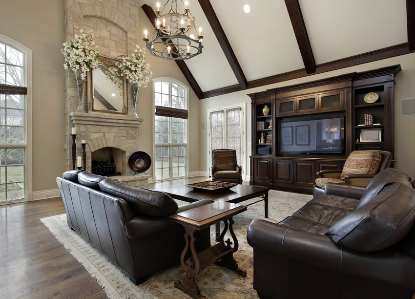 Family room with leather couches and stone fireplace