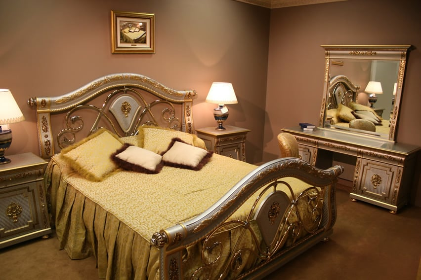 Gold and silver inlay bedroom set with gold bedding