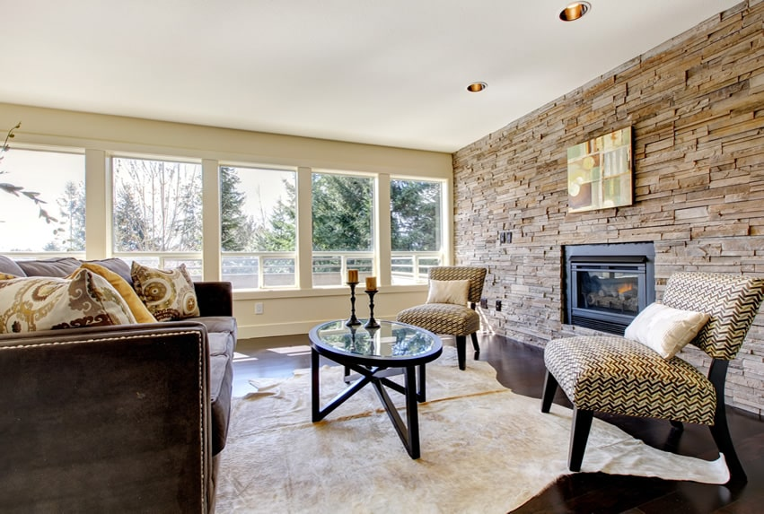 Living room with attractive stone accent wall