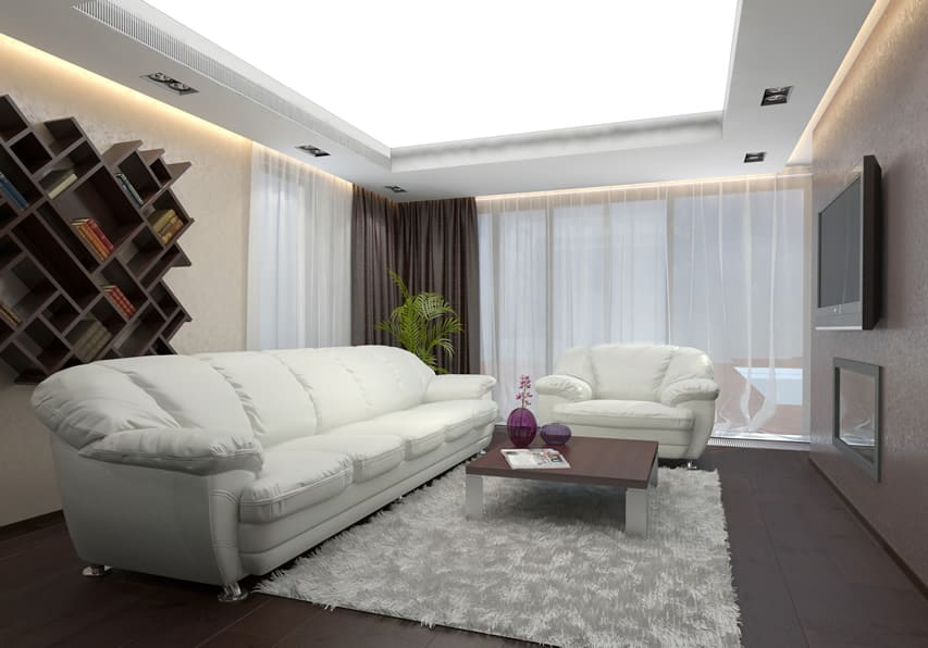 Modern living room design with sheer curtains