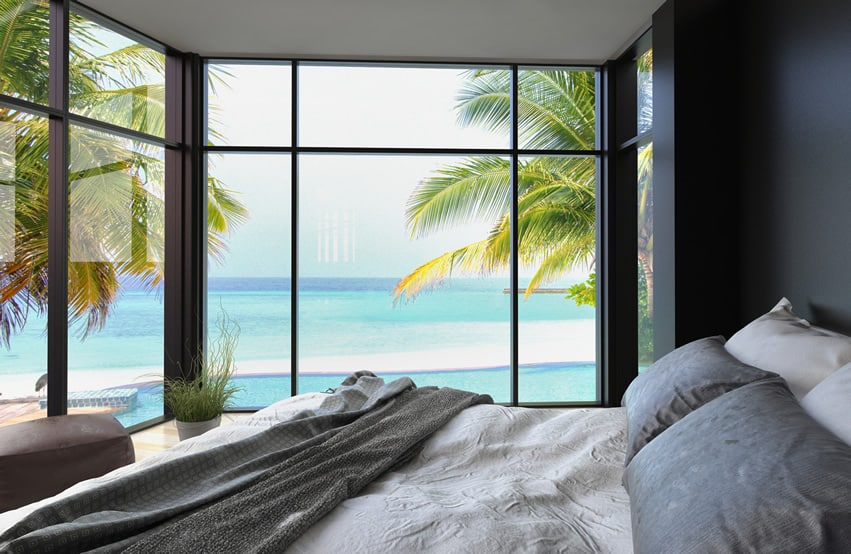 Ocean front bedroom with large windows