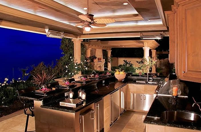 Custom designed outdoor kitchen with view