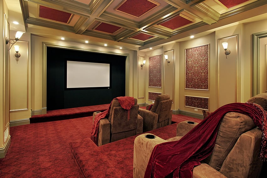 Elegant home theater room with reclining seats