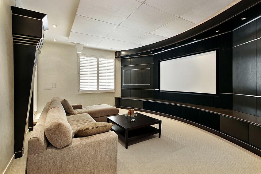 Home theater with black curved wall screen