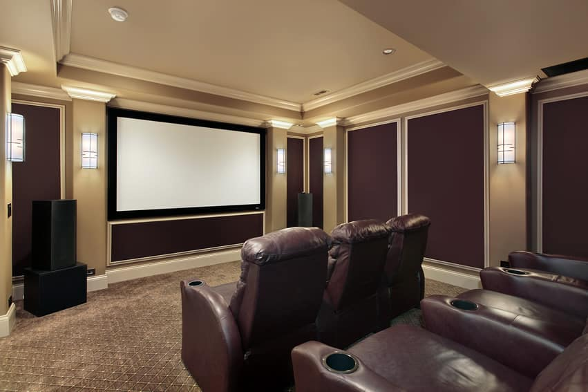 Home theater with leather recliners