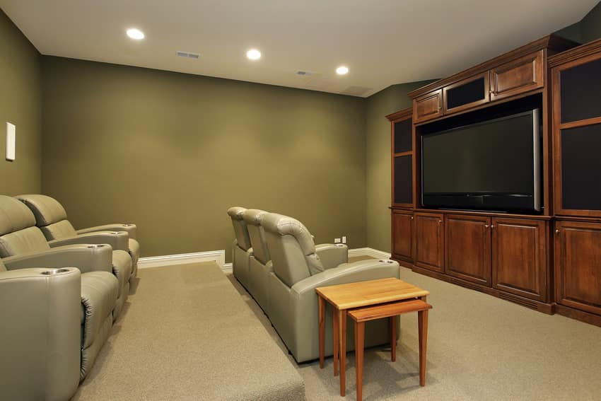 Large entertainment center in home theater room