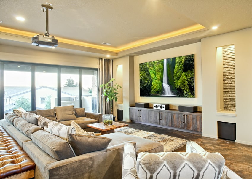 Media room with luxury furnishings and decor