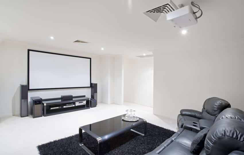 Media room with projector screen and black leather couch and recliner