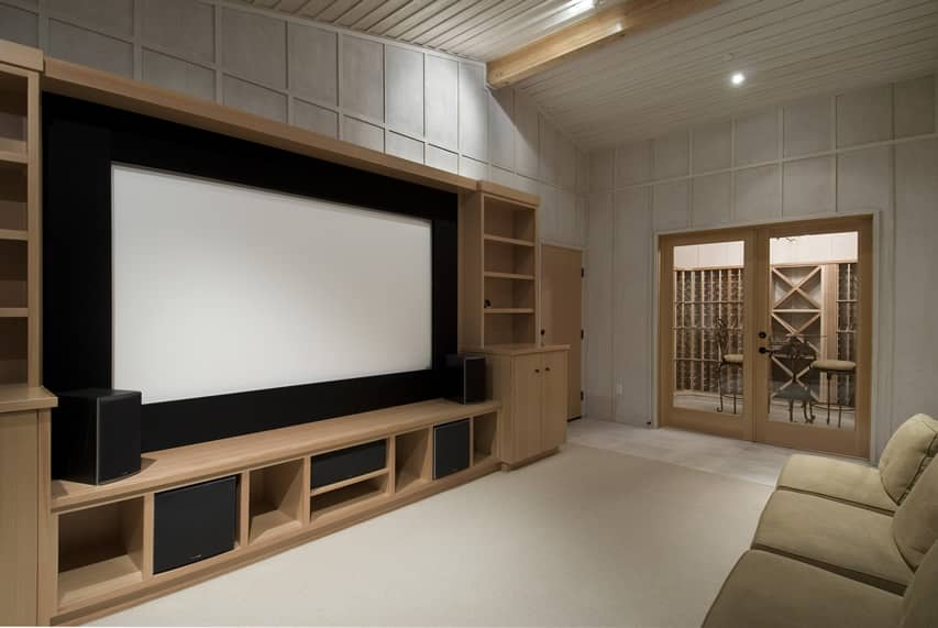 Movie room with large entertainment center