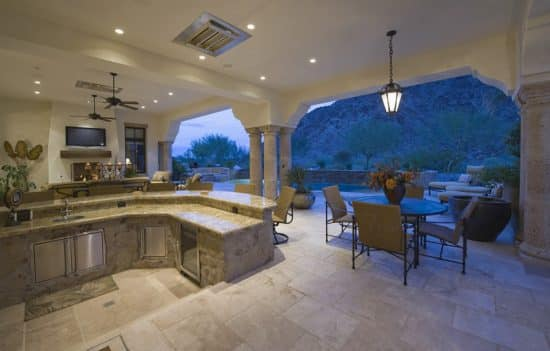 Outdoor Kitchen At Luxury Home Designing Idea