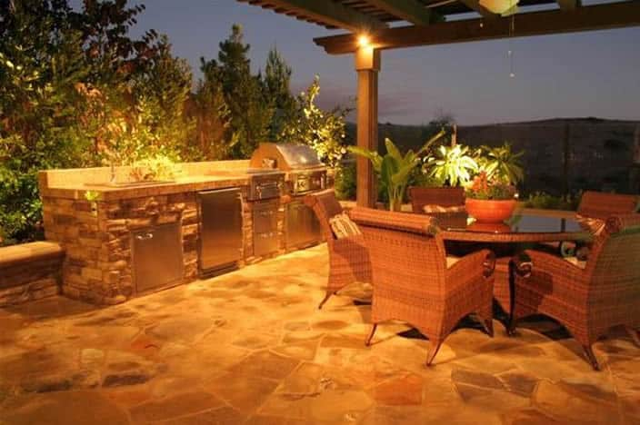 Outdoor kitchen with hillside view