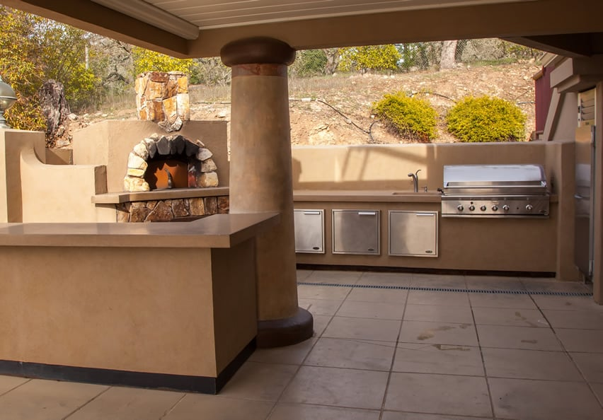 Outdoor kitchen with large open oven