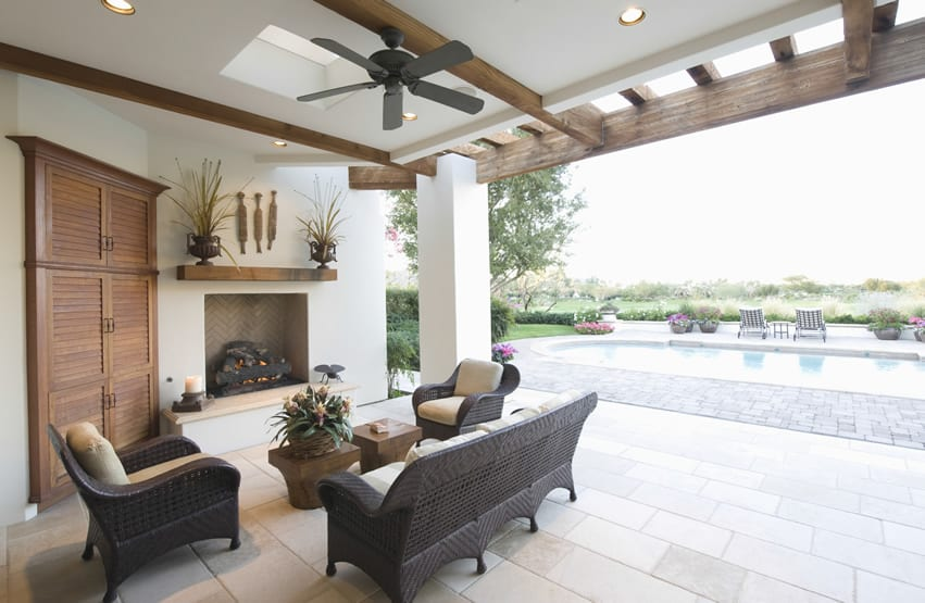 Beautiful backyard fireplace at luxury home overlooking swimming pool