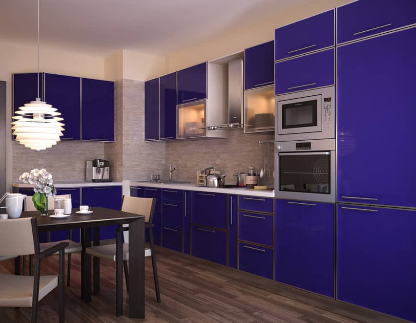 Blue modern kitchen with chrome fixtures