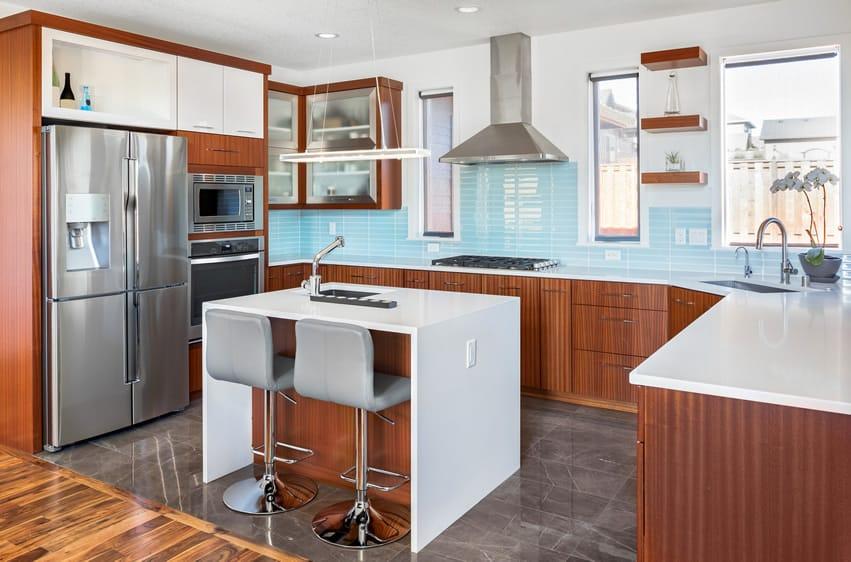 Blue rectangular tile back splash in modern kitchen