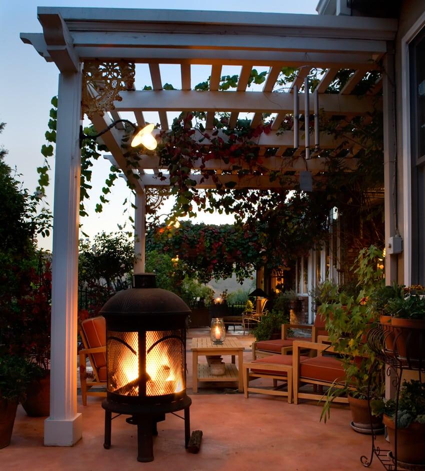 Chiminea fireplace on patio