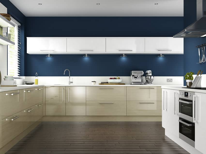 dark blue painted kitchen with cream cabinets and modern design