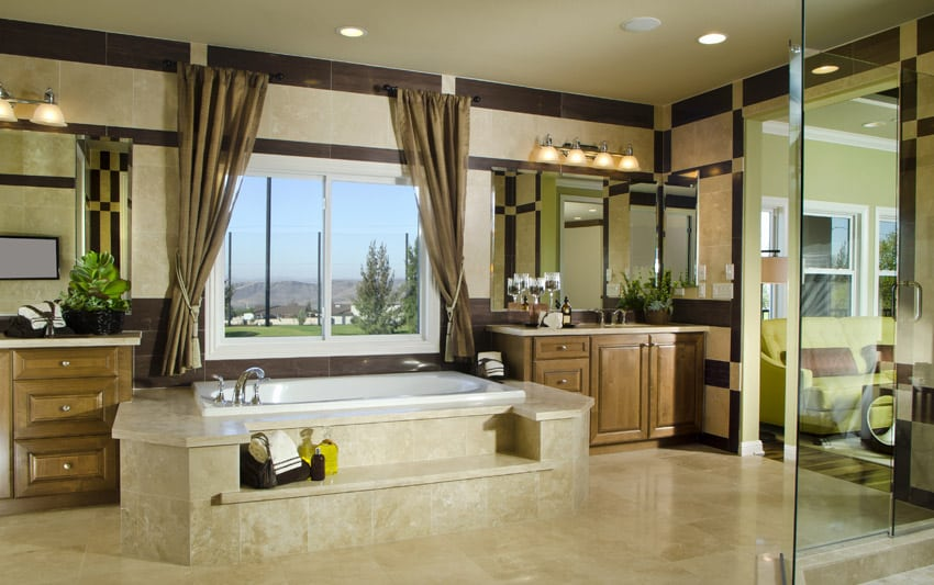 Expansive bathroom design with warm brown tones