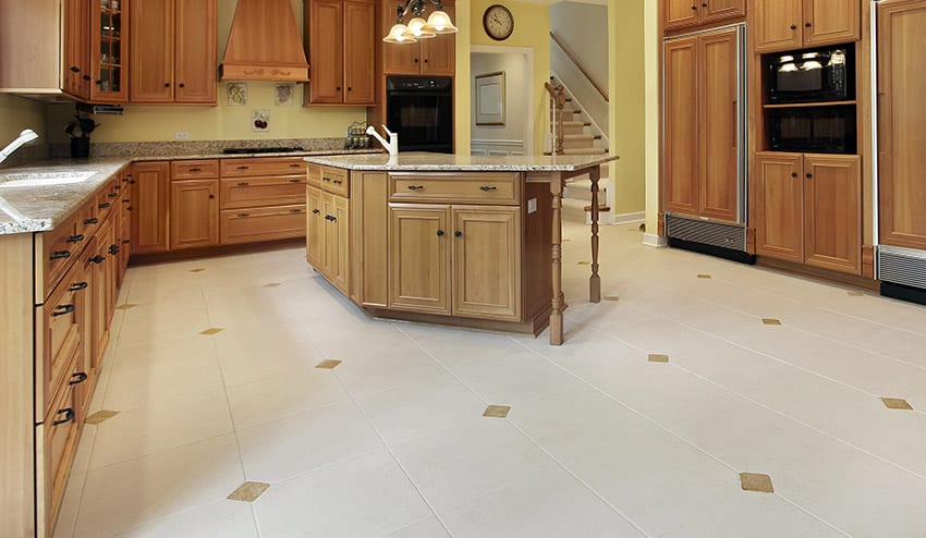 Linoleum floor in kitchen